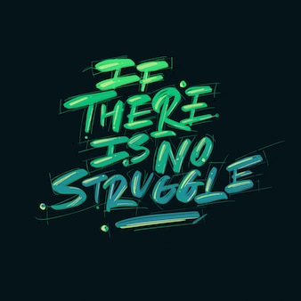 Work quote, if there is no struggle,  hand drawn lettering