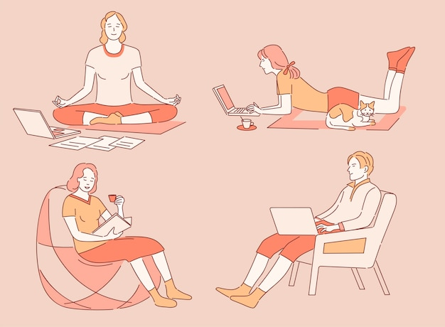 Work and relax at home cartoon outline illustration. people working remotely, meditating, reading books.