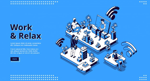 Work and relax isometric landing page, web banner