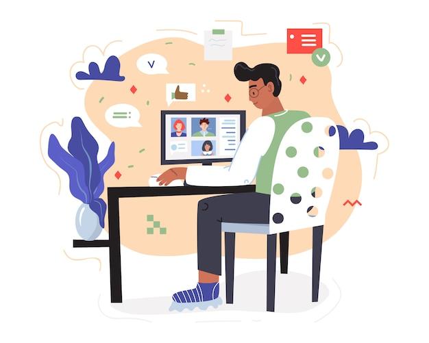 원격으로 작업하십시오. 앉은 사람이 팀원과 화상 통화 중입니다. 가정 개념을 유지하십시오. 그림은 일부 그래픽, 팝업 창, 구름 및 기타 기하학적 장식으로 장식되어 있습니다.