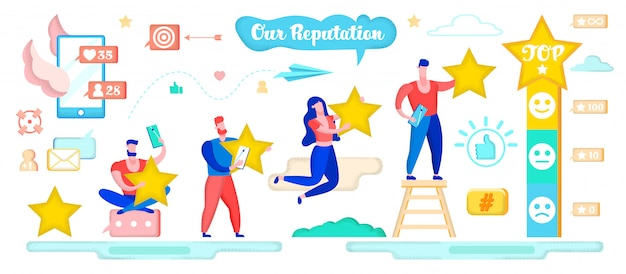 Work on reputation in social media, collect stars.