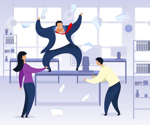 Work rush, office chaos illustration