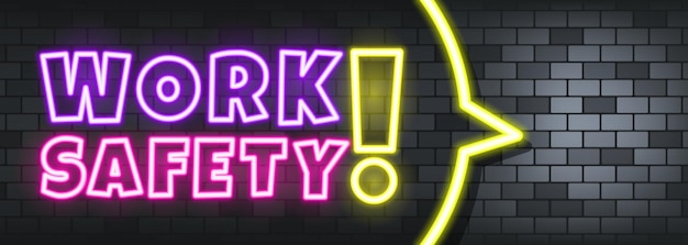 Work safety neon text on the stone background. work safety. for business, marketing and advertising. vector on isolated background. eps 10.