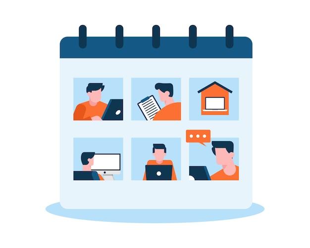 Концепция иллюстрации календаря рабочего графика