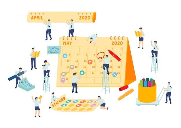 График работы, управление коллективом, сотрудники миниатюрной сборочной команды делают календарь планирования, бизнес-концепцию метафоры, плакат или социальный дизайн баннера, изолированный фон