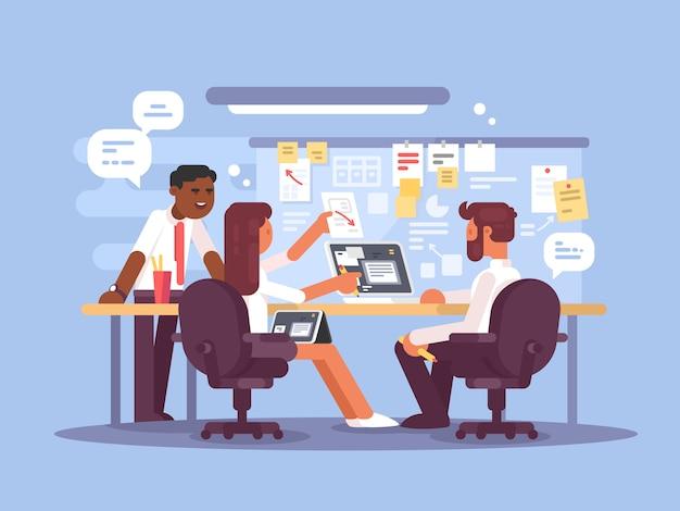 作業スケジュール、作業環境。オフィスで成功したチーム。図