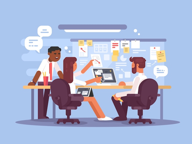 Work schedule, working environment. successful team in office.  illustration