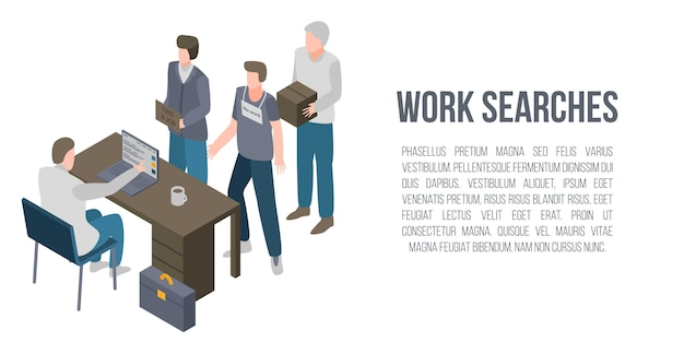 Work searches concept banner, isometric style