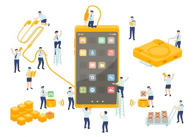 Работа службы технологии сотрудника управления коллективной работой, миниатюрные сотрудники сборочной команды установить приложение смартфон, бизнес метафора, плакат или социальный баннер, изолированных иллюстрация фон