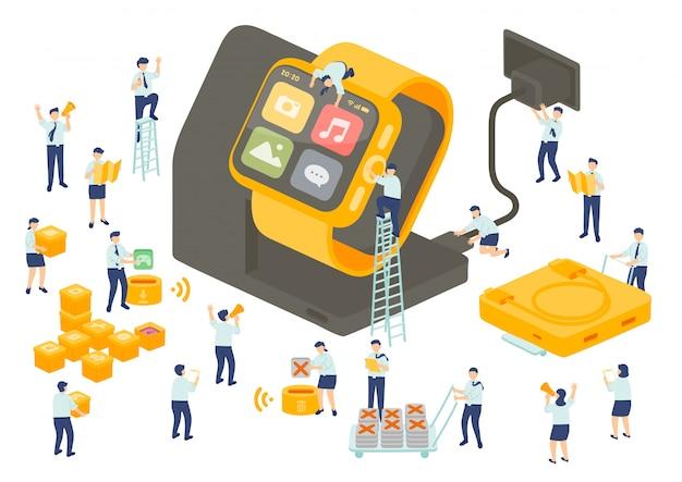 Работа службы технологии сотрудника управления коллективной работой, миниатюрные сотрудники сборочной команды установить приложение smartwatch, бизнес метафора, плакат или социальный баннер, изолированных иллюстрация фон