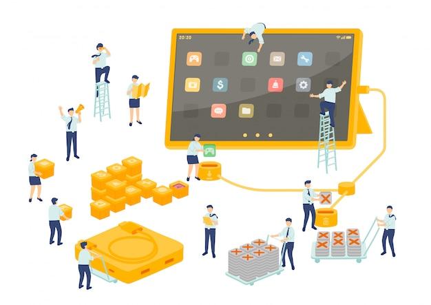 Работа сервис технологии работник управление командой, миниатюрная сборка персонал установить приложение планшет бизнес метафора концепция плакат или социальная баннер иллюстрация изолированных фон
