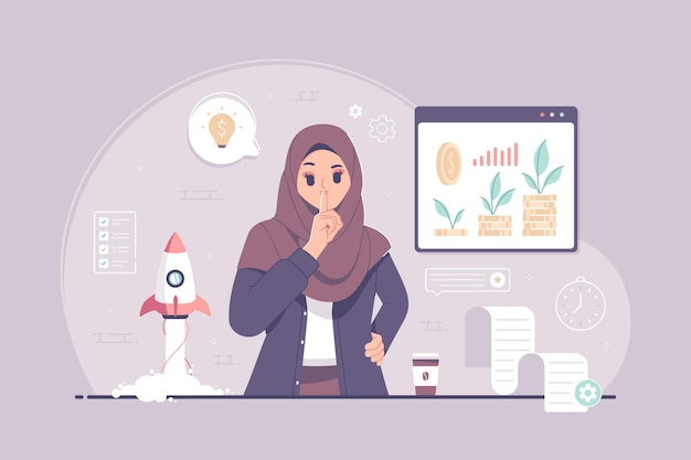 Work in silence islamic business woman with shut up gesture illustration