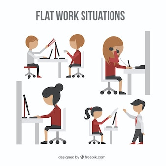 Work situations pack in a flat style