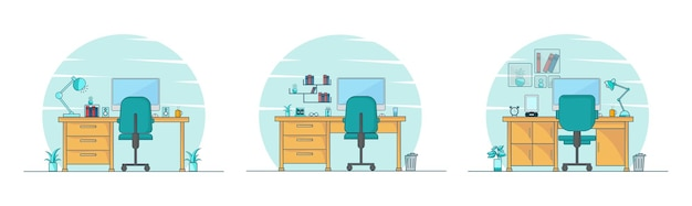 Work station set up  illustration set