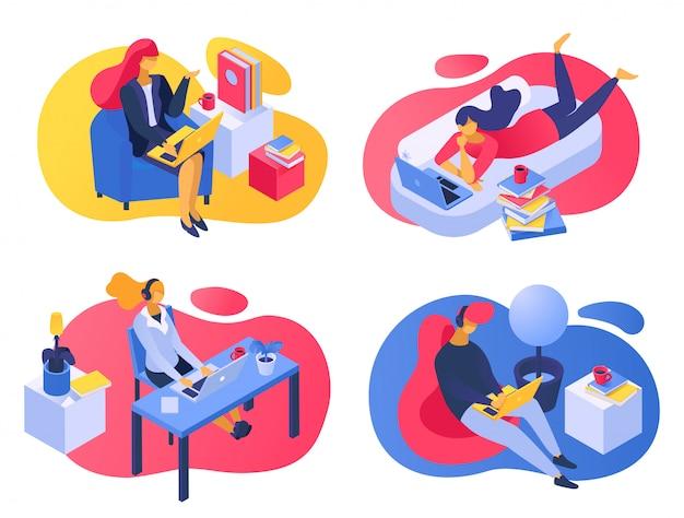 Работа учиться на дому, иллюстрации. mab женщина персонаж с плоским ноутбуком, люди человек на рабочем месте с компьютером.