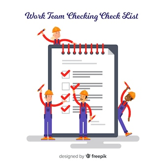 Work team checking list background