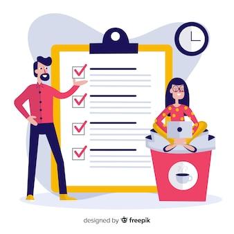 Work team checking list giant check list