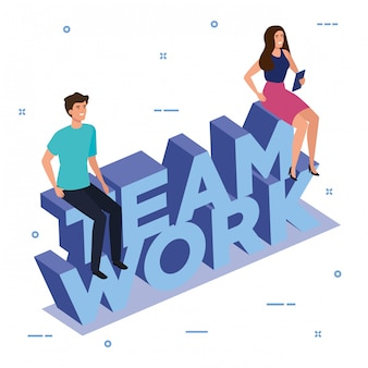 Work team couple sitting in lettering