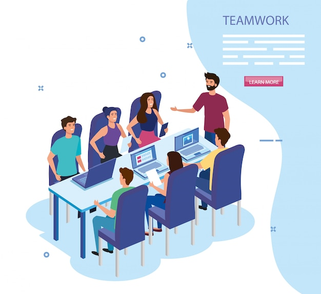 Work team group in meeting avatar characters