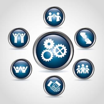 Work team icons over beige background vector illustration