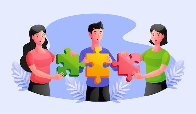 퍼즐 조각 협업 파트너십 개념에 합류하는 작업 팀
