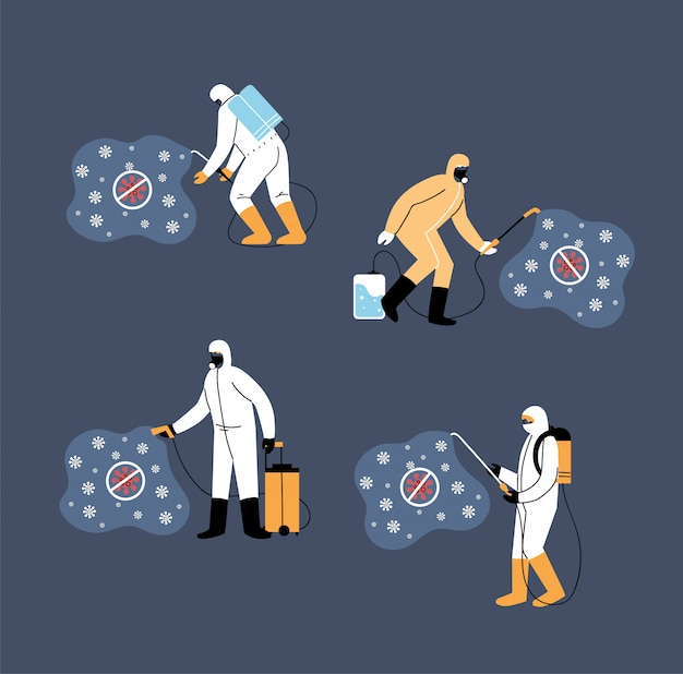 Work teams wear protective suit, coronavirus disinfection or covid 19
