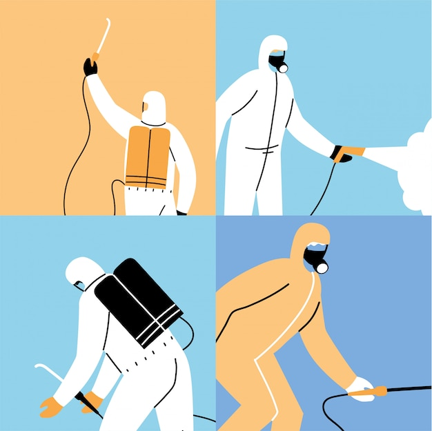 Work teams wear protective suit, posters disinfection by coronavirus