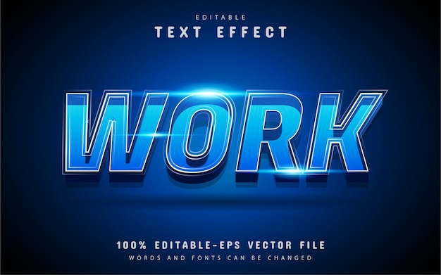 Work text effect with blue gradient