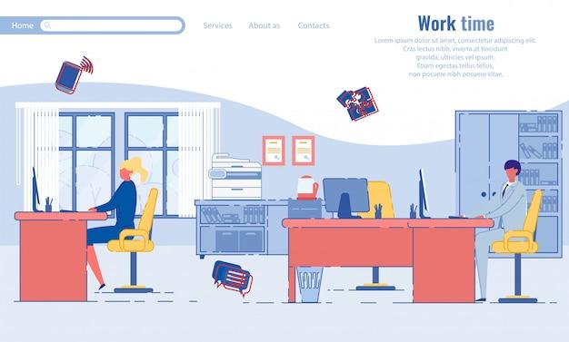 作業時間とビジネスの人々のランディングページテンプレート