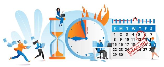 Время работы в часы, концепция крайнего срока дела