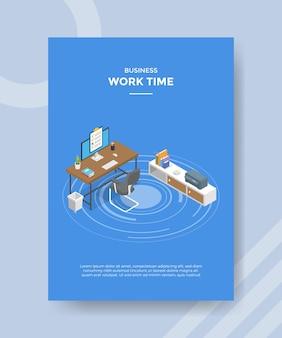 テンプレートバナーとアイソメトリックスタイルのイラストで印刷するためのチラシの作業時間の概念