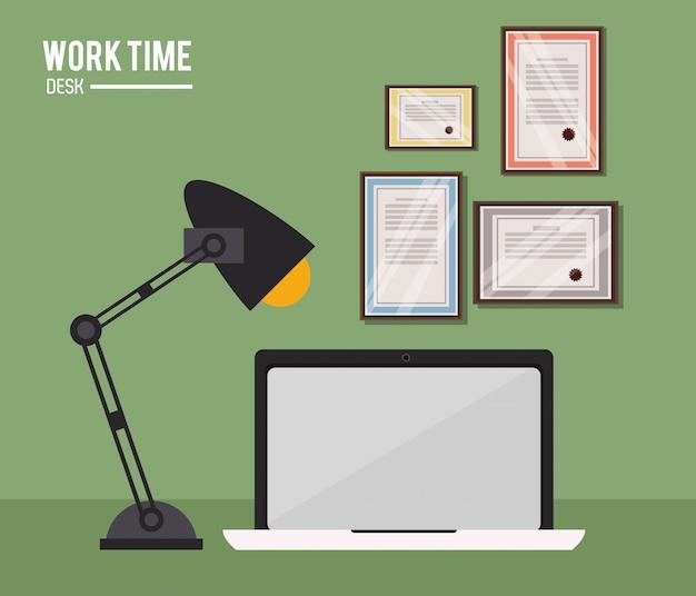 作業時間のラップトップランプの証明書