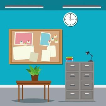 Work time desk table cabinet file clock plant