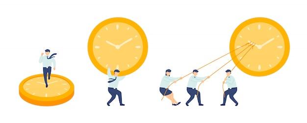 Рабочее время сотрудник управление работой в команде, миниатюрные сотрудники сборочной команды крошечные люди делают часы, бизнес метафора концепция плакат или дизайн социального баннера, иллюстрации, изолированных на белом фоне