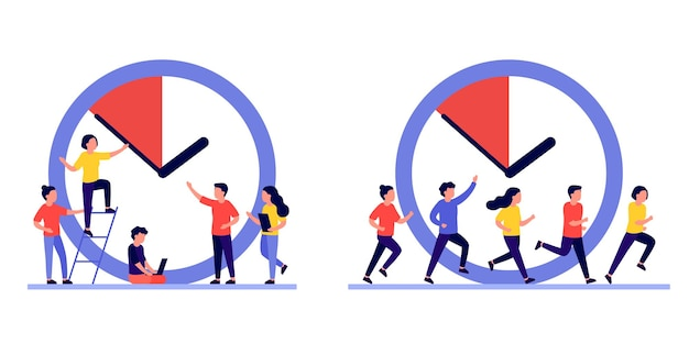 Work time management concept, people and clock