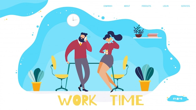 Work time organization in office landing page