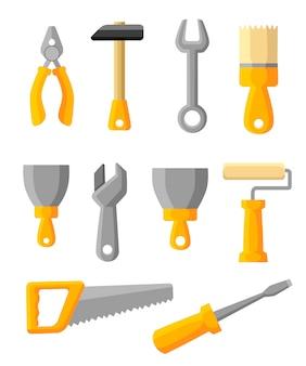 作業ツールのアイコンを設定します。構築ツール、建設用建物、ハンマー、ドライバー、のこぎり、ファイル、パテナイフ、定規、ローラー、ブラシ。スタイル 。白い背景の上の図