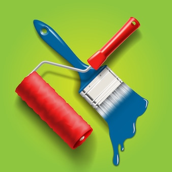 Рабочие инструменты - кисть и валик с красной и синей краской.