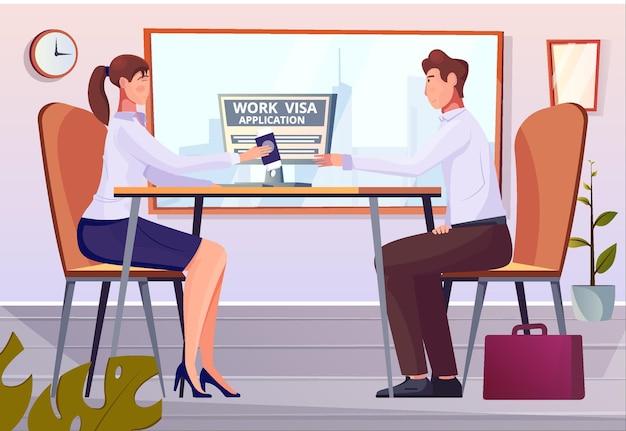 Плоская композиция для рабочей визы с внутренним офисным пейзажем и иностранным специалистом, возвращающим паспорт, иллюстрация разрешения на работу