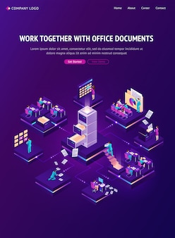Work with documents isometric landing page, banner