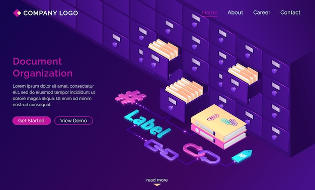 Work with documents organization isometric landing