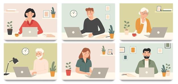 랩톱 컴퓨터로 작업하십시오. 기업 근로자, 젊은 사람과 노트북 그림 세트로 작업하는 노인.