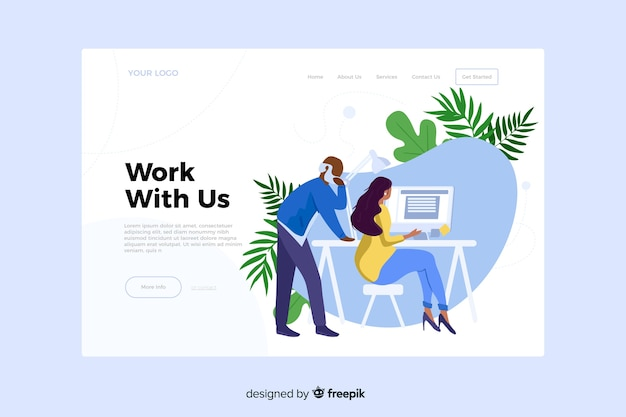 Work with us concept for landing page