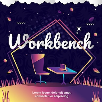 Workbench objects vector illustration