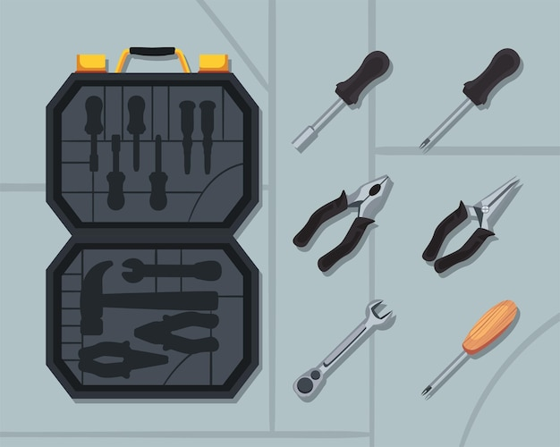 설정된 도구로 열린 워크 박스