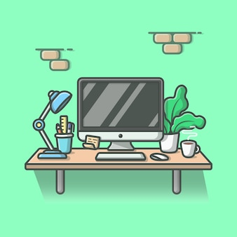 Workdesk   icon illustration. desktop and lamp, coffee, stationary, plant, office icon concept isolated