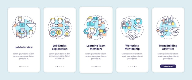 Worker adaptation stages onboarding mobile app page screen with concepts. recruitment. knowledge with company walkthrough  steps. ui  template illustrations Premium Vector