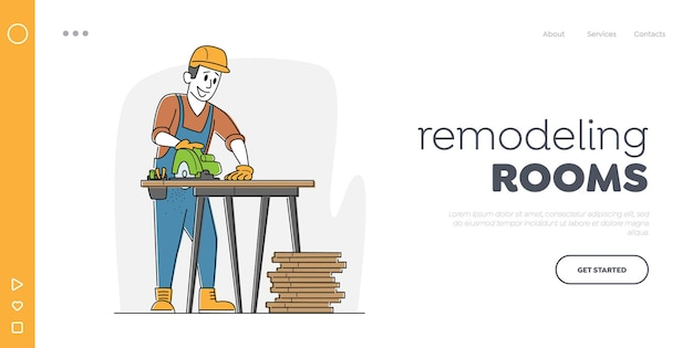 Worker carpentry woodwork landing page template.