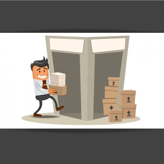 Worker carrying documents