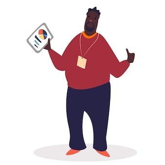 ダイアグラムレポートと紙を保持している労働者のキャラクター。